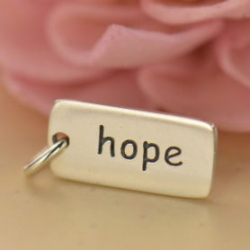 Sterling Silver Word Charms - Hope 18x7mm