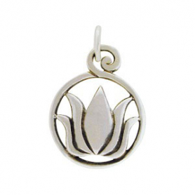 Sterling Silver Lotus Charm on Round Openwork Circle 20x13mm