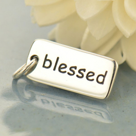 Sterling Silver Word Charms - Blessed 18x7mm