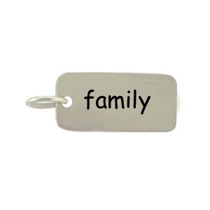 Sterling Silver Word Charm - Family 18x7mm