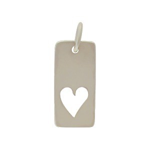 Sterling Silver Rectangle Charm with Heart Cutout 18x7mm