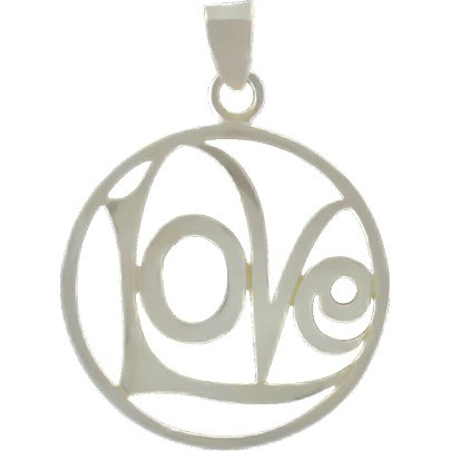 Silver Word Charm - Love - Openwork Circle DISCONTINUED