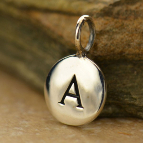Sterling Silver Letter Charms - Initial A 13x8mm