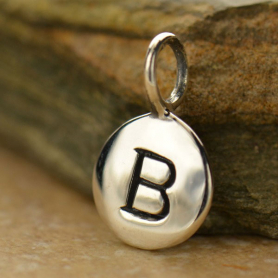 Sterling Silver Letter Charms - Initial B 13x8mm
