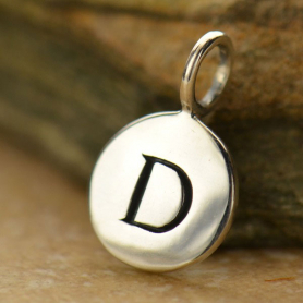Sterling Silver Letter Charms - Initial D 13x8mm