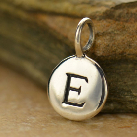 Sterling Silver Letter Charms - Initial E 13x8mm