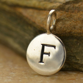 Sterling Silver Letter Charms - Initial F 13x8mm