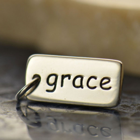 Sterling Silver Word Charm - Grace 18x7mm