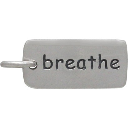 Sterling Silver Word Charm - Breathe 18x7mm