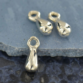 Sterling Silver Teardrop Dangle Charm - Small