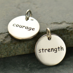 Sterling Silver Word Charm - Courage Strength - Round