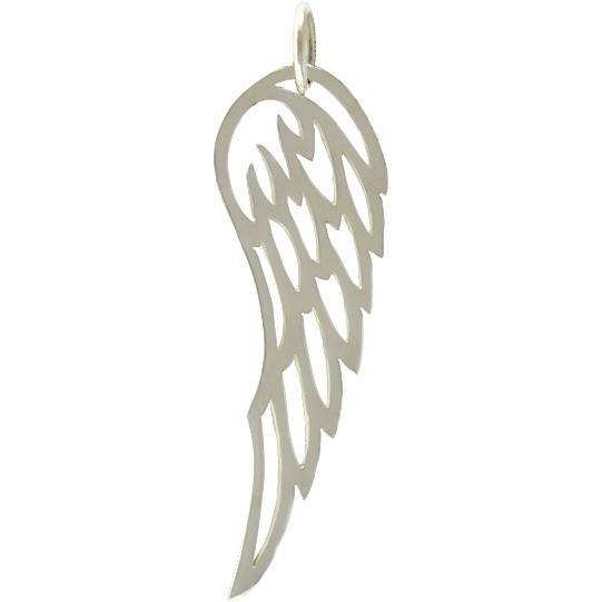 Sterling Silver Wing Charm - Large 44x13mm