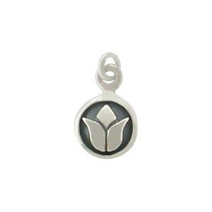 Sterling Silver Tiny Circle Charm with Lotus Design 14x8mm