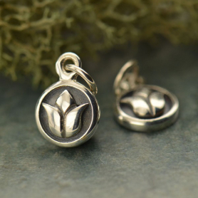 Sterling Silver Tiny Circle Charm with Lotus Design
