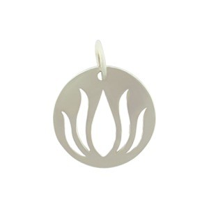 Sterling Silver Round Charm with Lotus Cutout 16x13mm