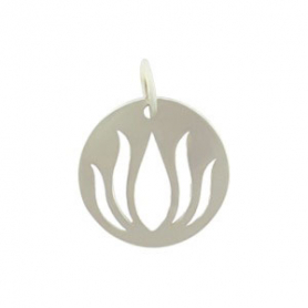 Sterling Silver Round Charm with Lotus Cutout