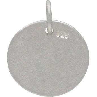 Sterling Silver Round Charm - Stamping Blank - Large 15x12mm