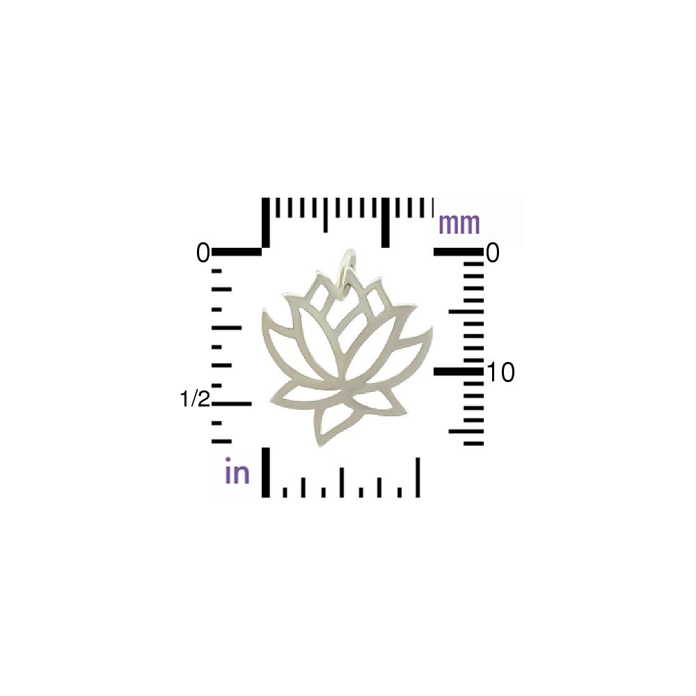Sterling Silver Lotus Charm - Medium 18x15mm