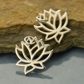 Sterling Silver Lotus Charm - Medium