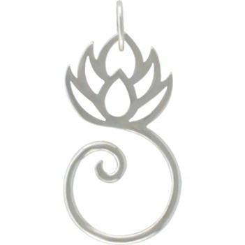 Sterling Silver Lotus Charm Holder 28x14mm