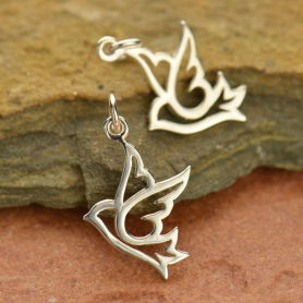 Sterling Silver Peace Dove Charm - Animal Charm
