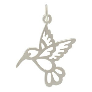 Sterling Silver Hummingbird Charm - Animal Charm 23x19mm