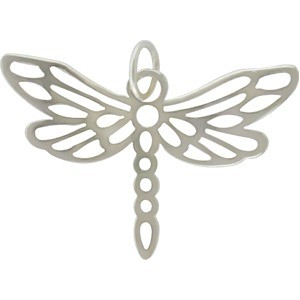 Sterling Silver Small Dragonfly Charm 20x25mm