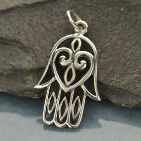 Sterling Silver Hamsa Hand with Heart - Large