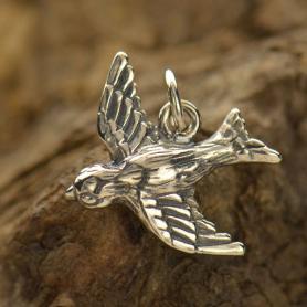 Sterling Silver Songbird Charm - Medium - Textured