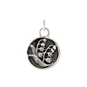 Sterling Silver Small Circle Charm w Etched Flowers 17x10mm