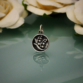 Sterling Silver Small Circle Charm with Etched Flowers