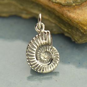 Sterling Silver Nautilus Shell Charm - Beach Charm