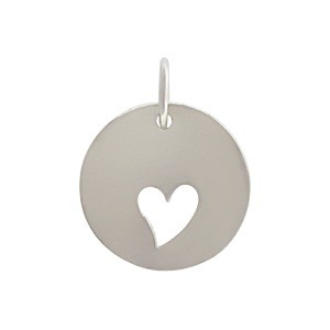 Sterling Silver Round Charm with One Heart Cutout 16x12mm