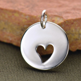 Sterling Silver Round Charm with One Heart Cutout