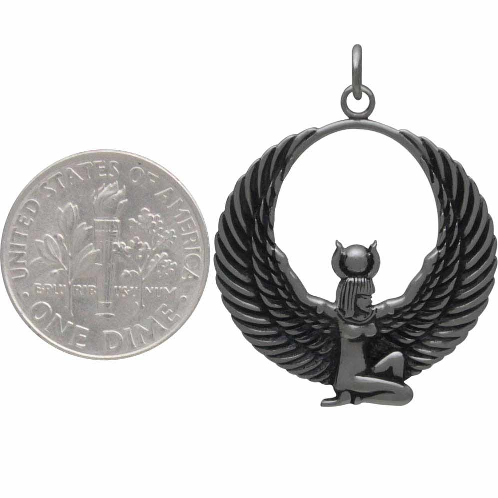 Sterling Silver Egyptian Winged Goddess Pendant 32x25mm
