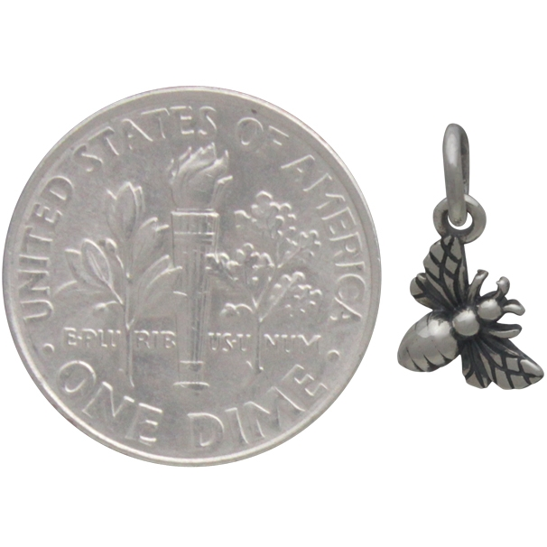 Sterling Silver Tiny Honey Bee Charm 13x7mm