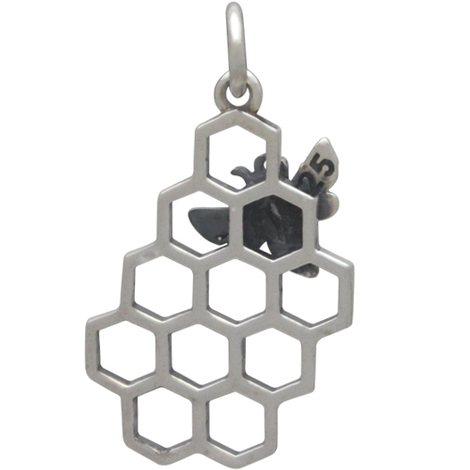 Sterling Silver Honey Bee Charm with Honeycomb 23x11mm
