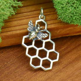 Sterling Silver Honey Bee Charm with Honeycomb