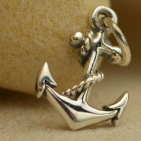 Sterling Silver Anchor Charm - Beach Charm 16x9mm