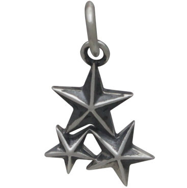 Sterling Silver Star Cluster Charm
