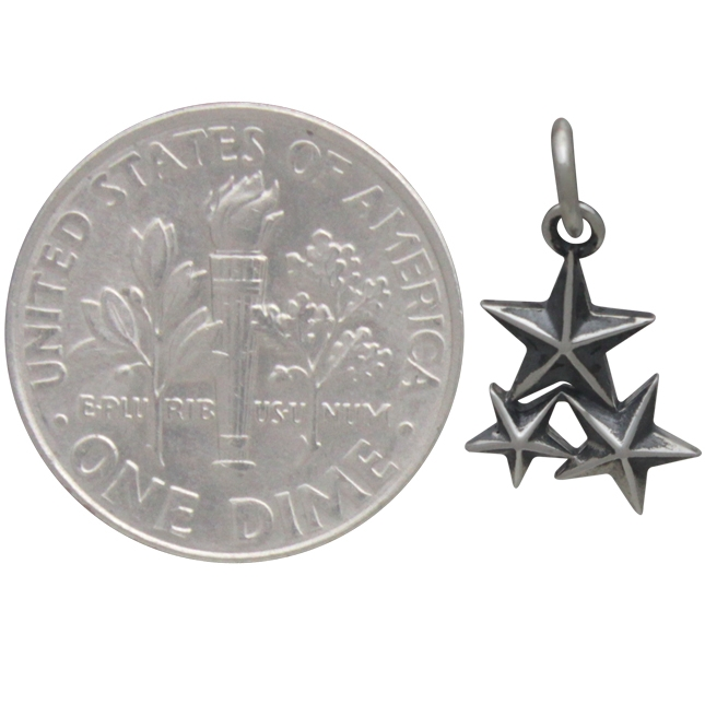 Sterling Silver Star Cluster Charm 16x9mm