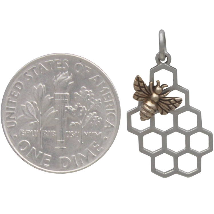 Sterling Silver Honeycomb Charm with Bronze Bee 23x11mm