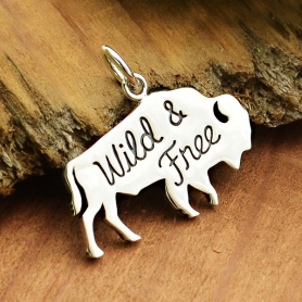 Sterling Silver Buffalo Charm - Wild & Free 17x21mm