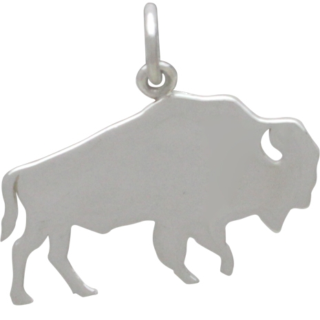 Sterling Silver Buffalo Charm - Stamping Blank 17x21mm