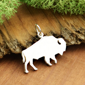 Sterling Silver Buffalo Charm - Stamping Blank