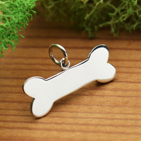 Sterling Silver Large Dog Bone Charm -Stamping Blank 12x20mm