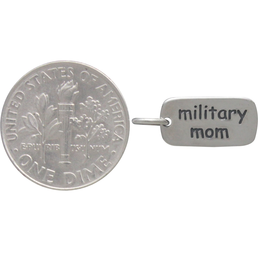 Sterling Silver Word Charm - Military Mom 17x7mm