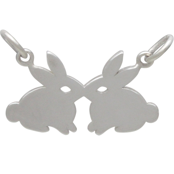 Sterling Silver Kissing Rabbits Charm 14x21mm