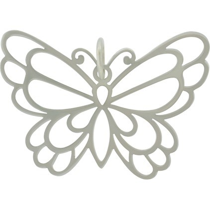 Sterling Silver Butterfly Pendant 26x35mm
