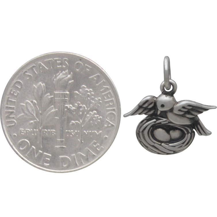 Sterling Silver Mama Bird Charm with Nest 15x14mm